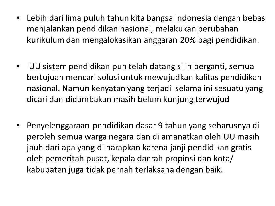 Lebih dari lima puluh tahun kita bangsa Indonesia dengan bebas menjalankan pendidikan nasional, melakukan perubahan kurikulum dan mengalokasikan anggaran 20% bagi pendidikan.