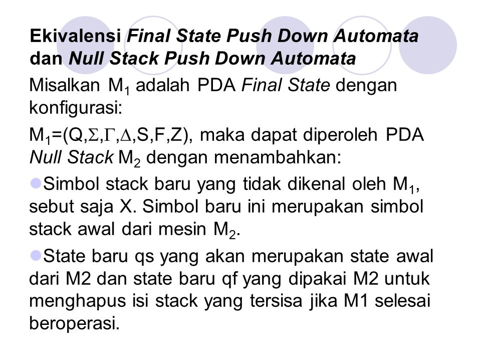 Ekivalensi Final State Push Down Automata dan Null Stack Push Down Automata