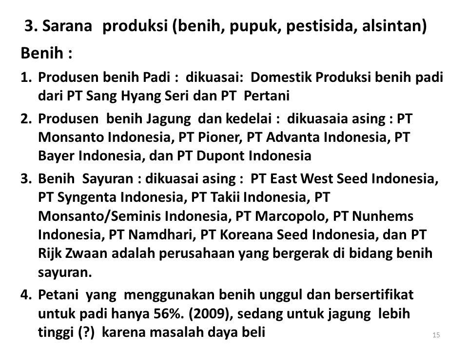 3. Sarana produksi (benih, pupuk, pestisida, alsintan)
