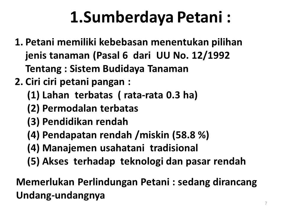 1.Sumberdaya Petani : Petani memiliki kebebasan menentukan pilihan jenis tanaman (Pasal 6 dari UU No. 12/1992 Tentang : Sistem Budidaya Tanaman.