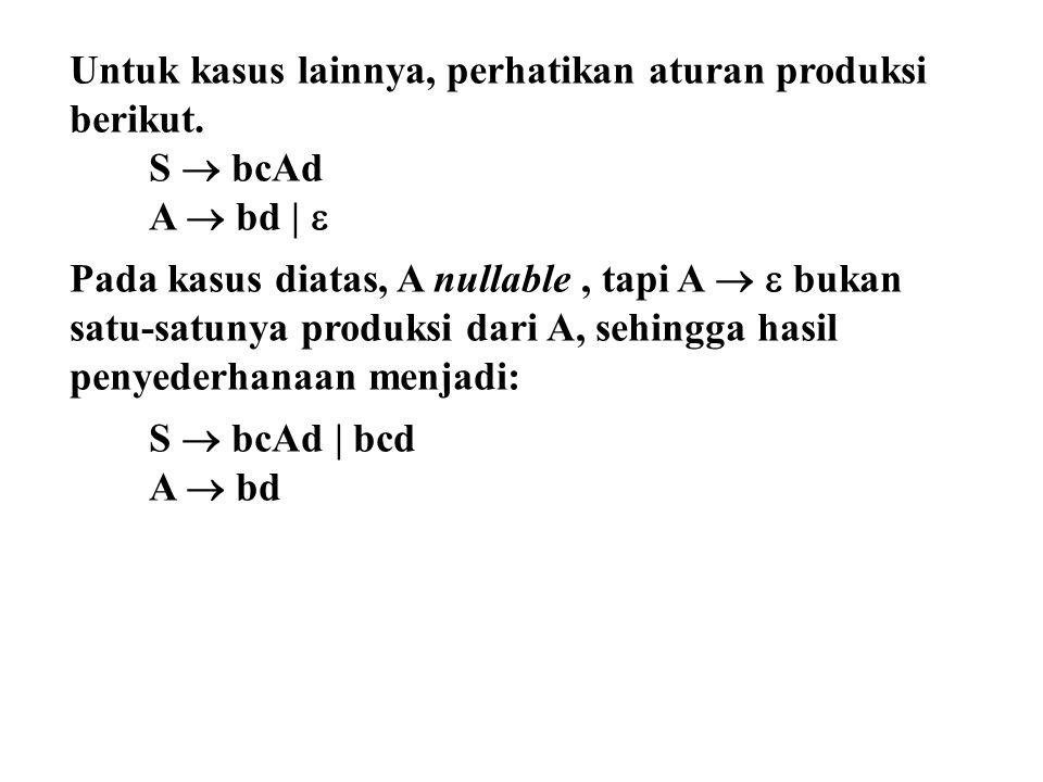 Untuk kasus lainnya, perhatikan aturan produksi berikut.