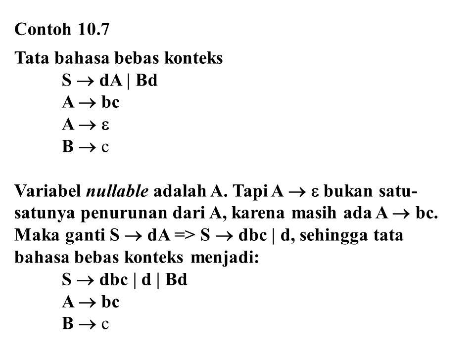 Contoh 10.7 Tata bahasa bebas konteks. S  dA | Bd. A  bc. A   B  c. Variabel nullable adalah A. Tapi A   bukan satu-