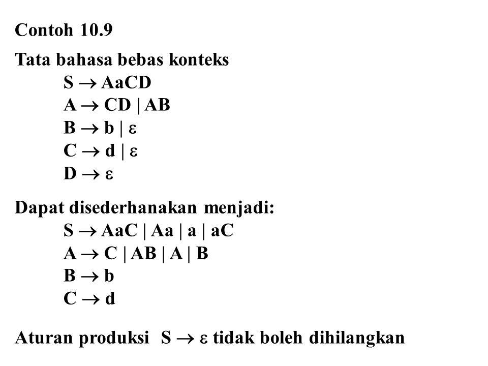 Contoh 10.9 Tata bahasa bebas konteks. S  AaCD. A  CD | AB. B  b |  C  d |  D   Dapat disederhanakan menjadi: