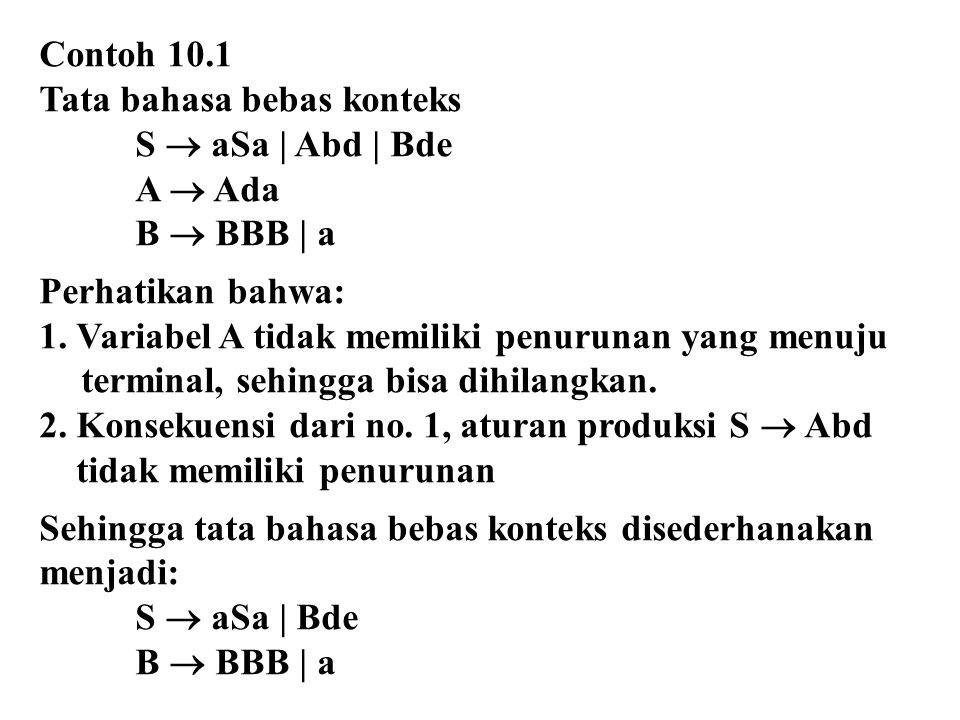 Contoh 10.1 Tata bahasa bebas konteks. S  aSa | Abd | Bde. A  Ada. B  BBB | a. Perhatikan bahwa: