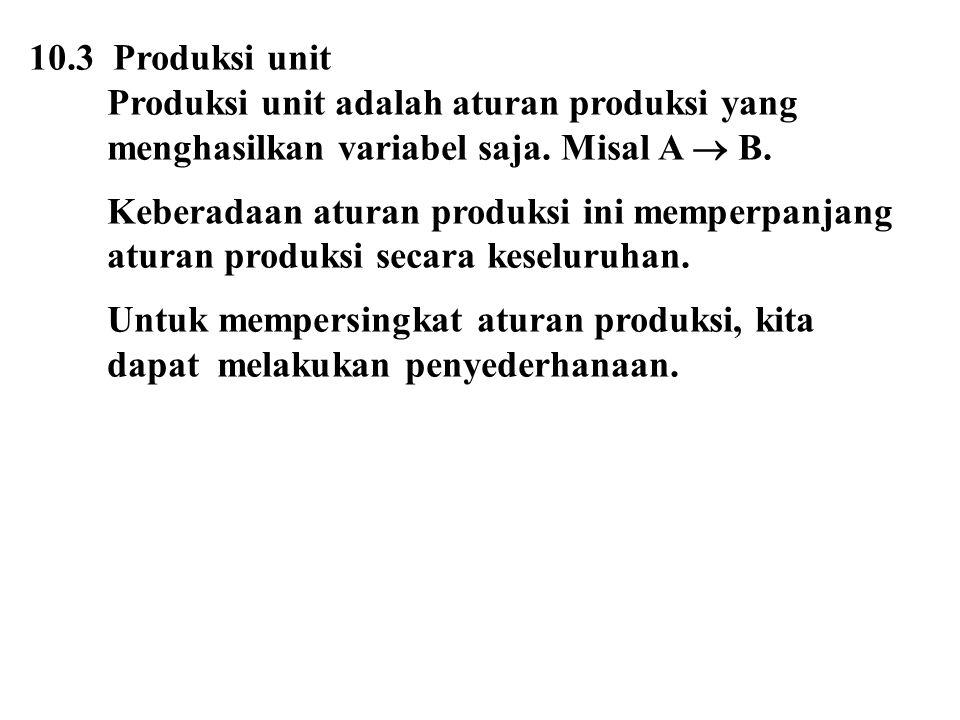 10.3 Produksi unit Produksi unit adalah aturan produksi yang. menghasilkan variabel saja. Misal A  B.
