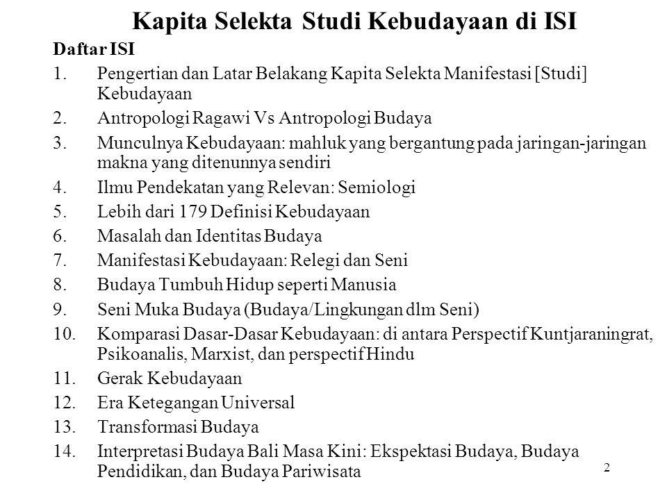Kapita Selekta Studi Kebudayaan di ISI