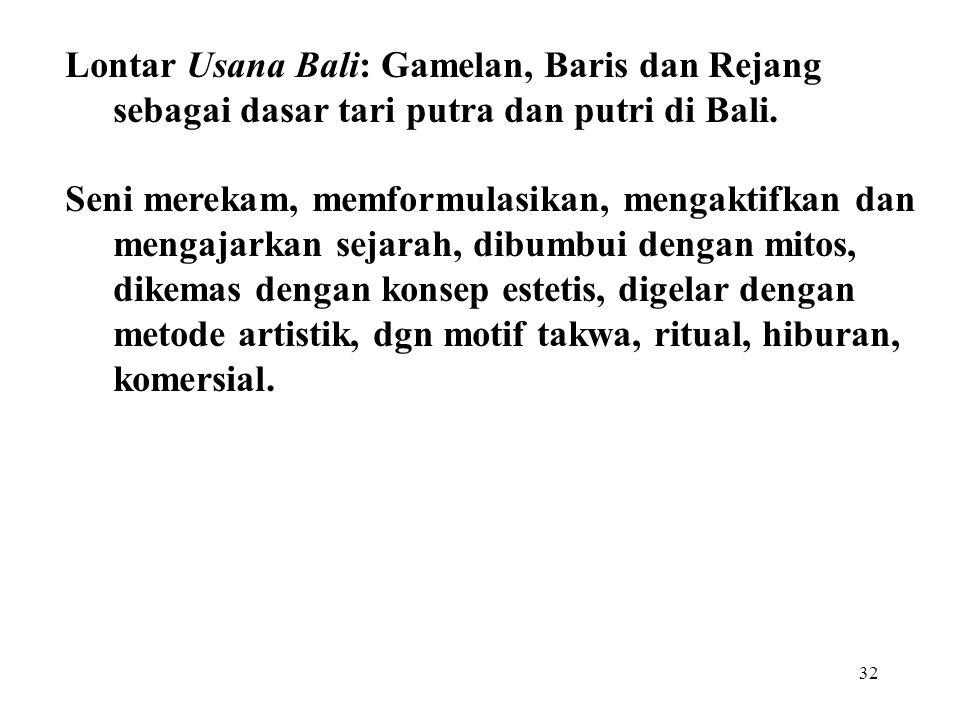 Lontar Usana Bali: Gamelan, Baris dan Rejang sebagai dasar tari putra dan putri di Bali.