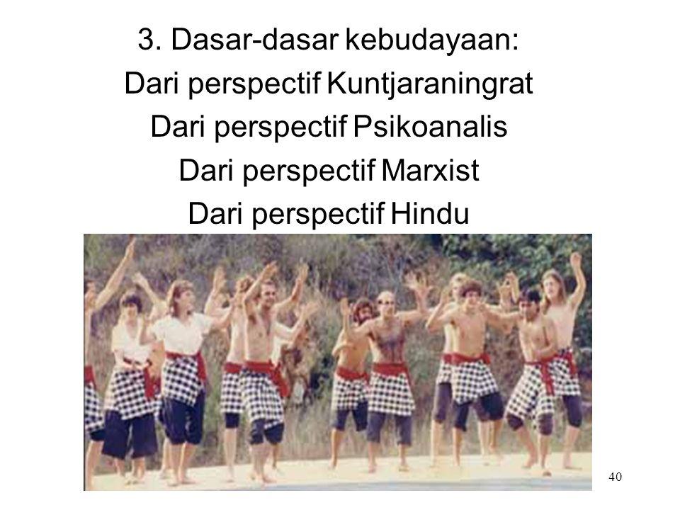 3. Dasar-dasar kebudayaan: Dari perspectif Kuntjaraningrat