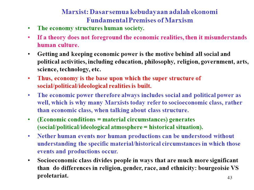 Marxist: Dasar semua kebudayaan adalah ekonomi Fundamental Premises of Marxism