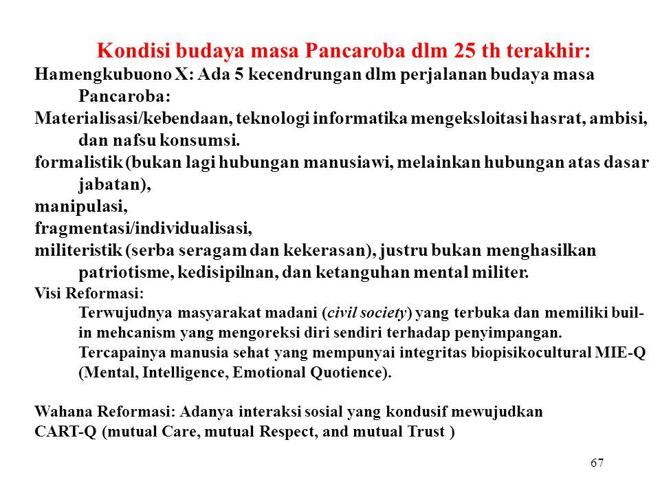 Kondisi budaya masa Pancaroba dlm 25 th terakhir: