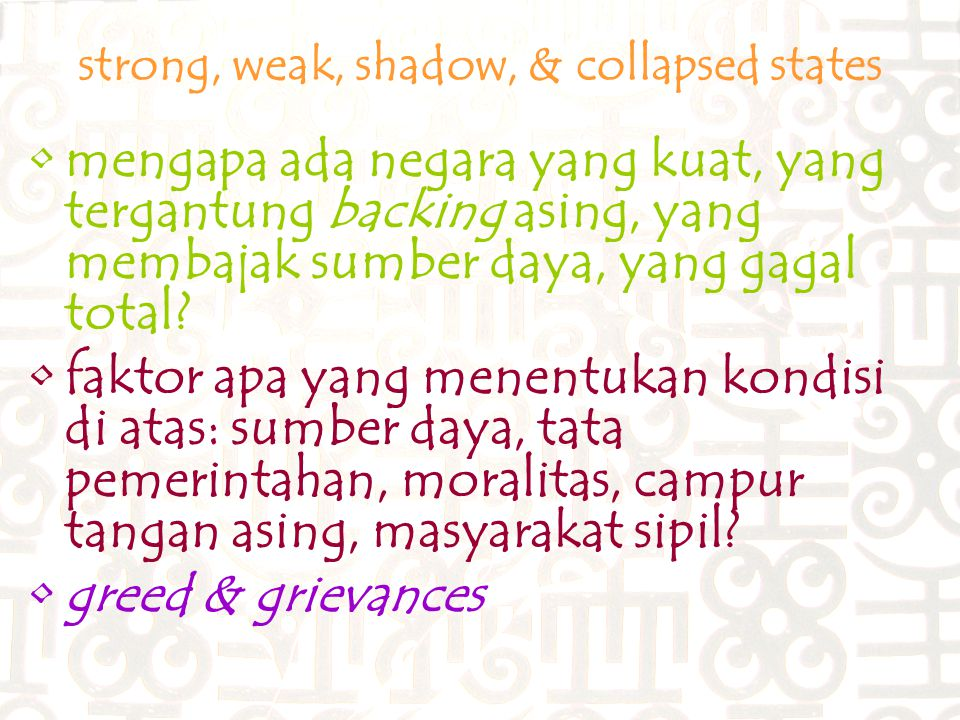 strong, weak, shadow, & collapsed states