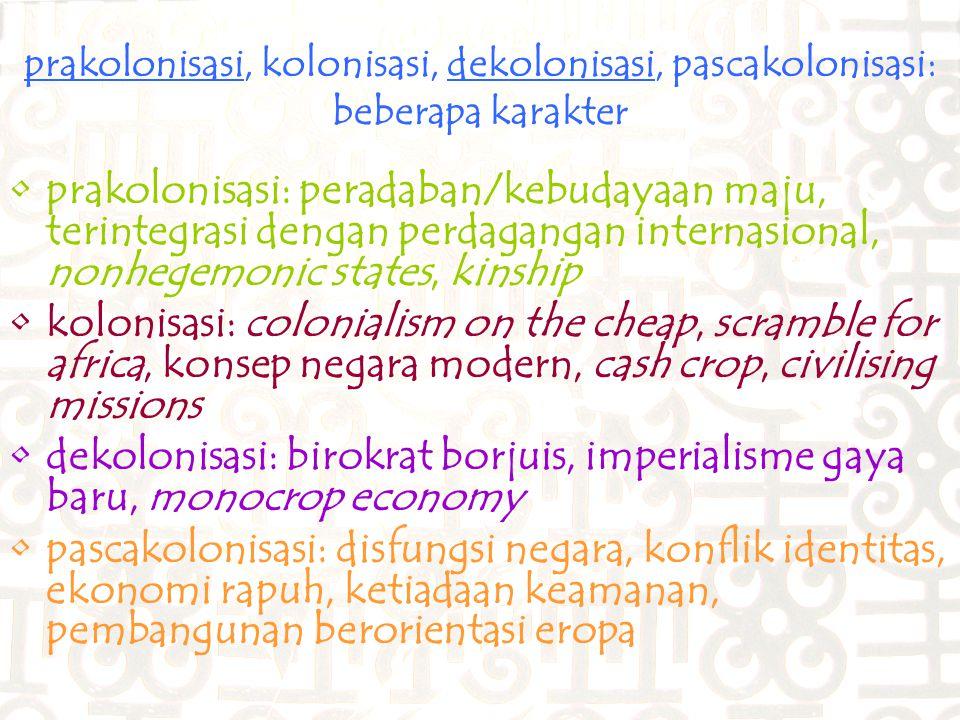 prakolonisasi, kolonisasi, dekolonisasi, pascakolonisasi: beberapa karakter