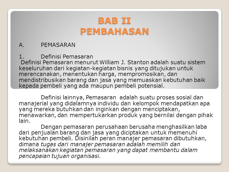 BAB II PEMBAHASAN A. PEMASARAN 1. Definisi Pemasaran