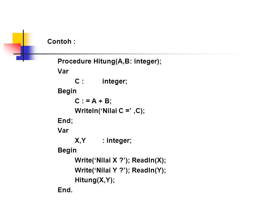 Contoh : Procedure Hitung(A,B : integer); Var. C : integer; Begin. C : = A + B; Writeln('Nilai C =' ,C);