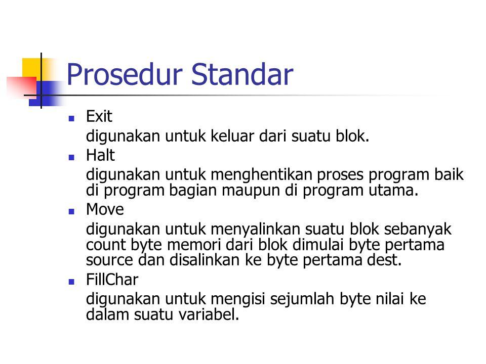 Prosedur Standar Exit digunakan untuk keluar dari suatu blok. Halt