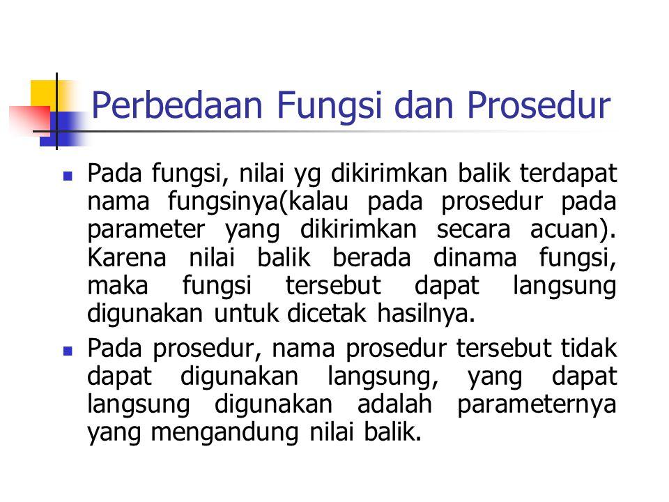 Perbedaan Fungsi dan Prosedur
