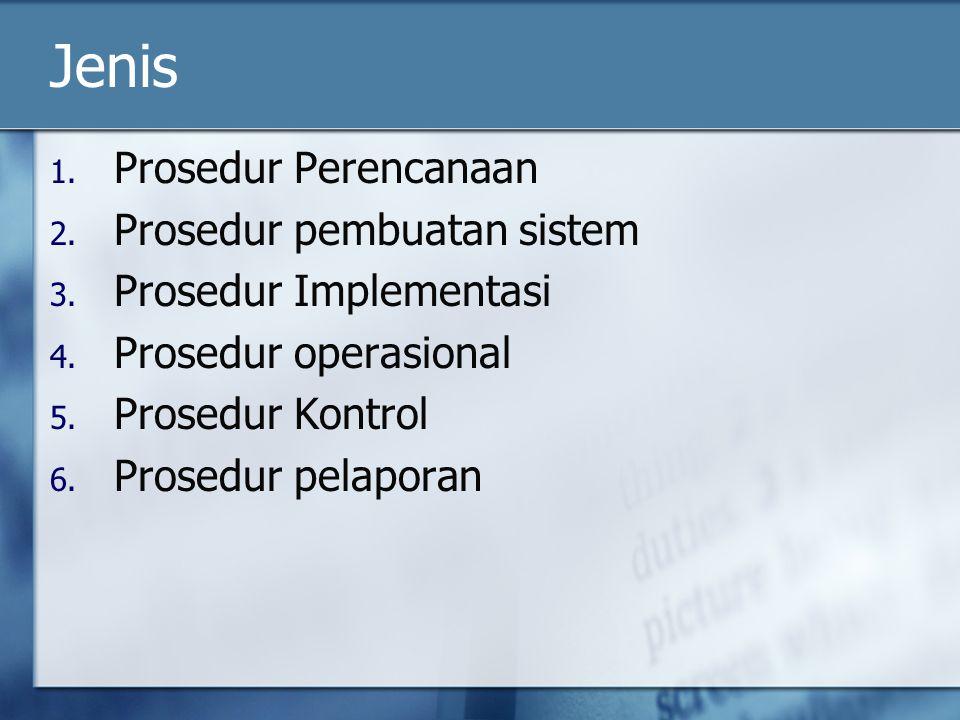 Jenis Prosedur Perencanaan Prosedur pembuatan sistem