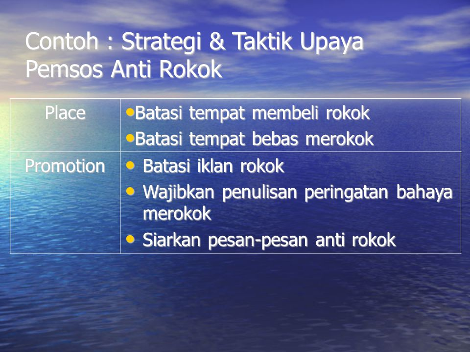 Contoh : Strategi & Taktik Upaya Pemsos Anti Rokok
