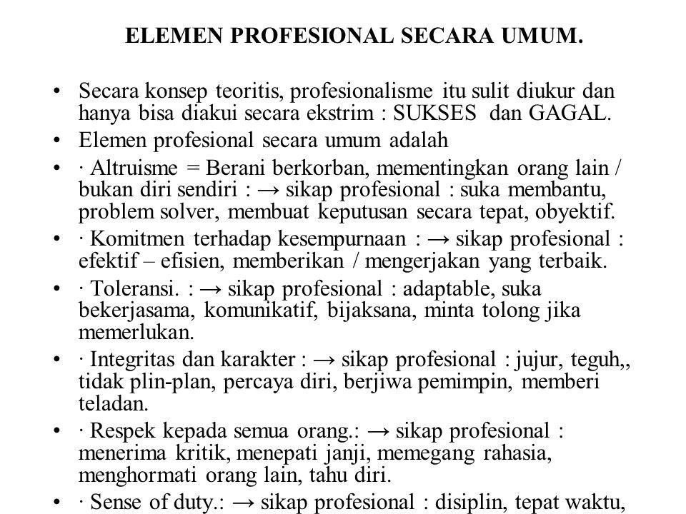ELEMEN PROFESIONAL SECARA UMUM.