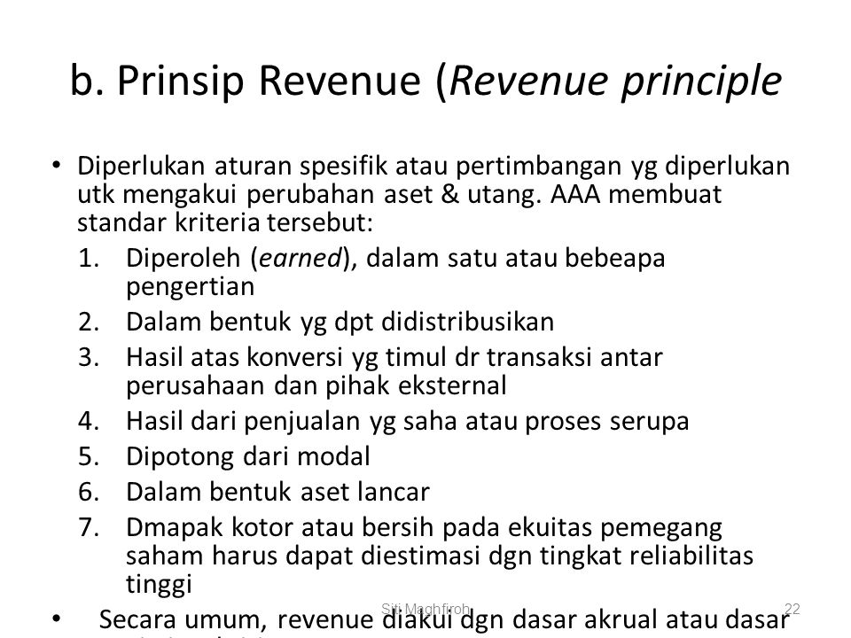 b. Prinsip Revenue (Revenue principle