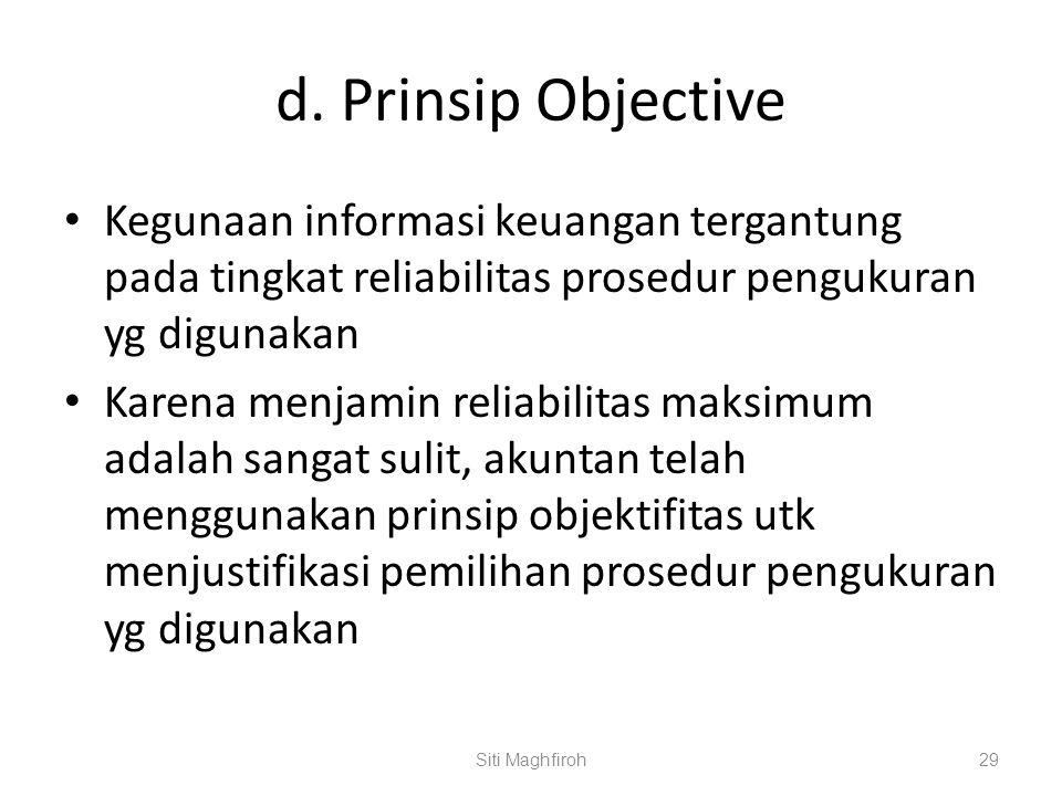 d. Prinsip Objective Kegunaan informasi keuangan tergantung pada tingkat reliabilitas prosedur pengukuran yg digunakan.