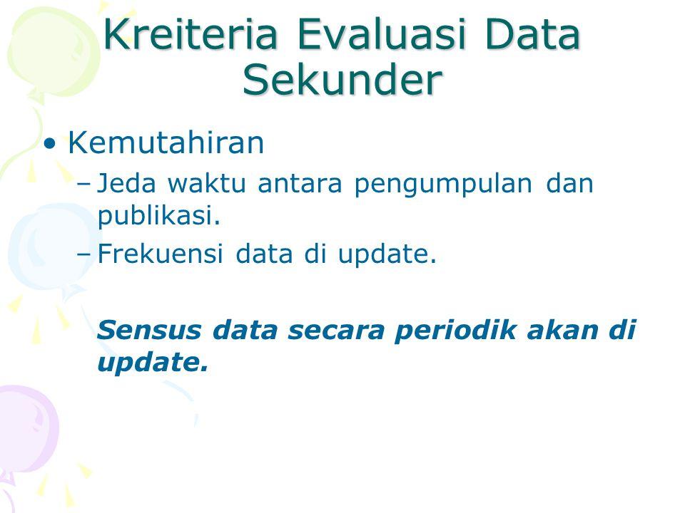 Kelemahan Data Sekunder