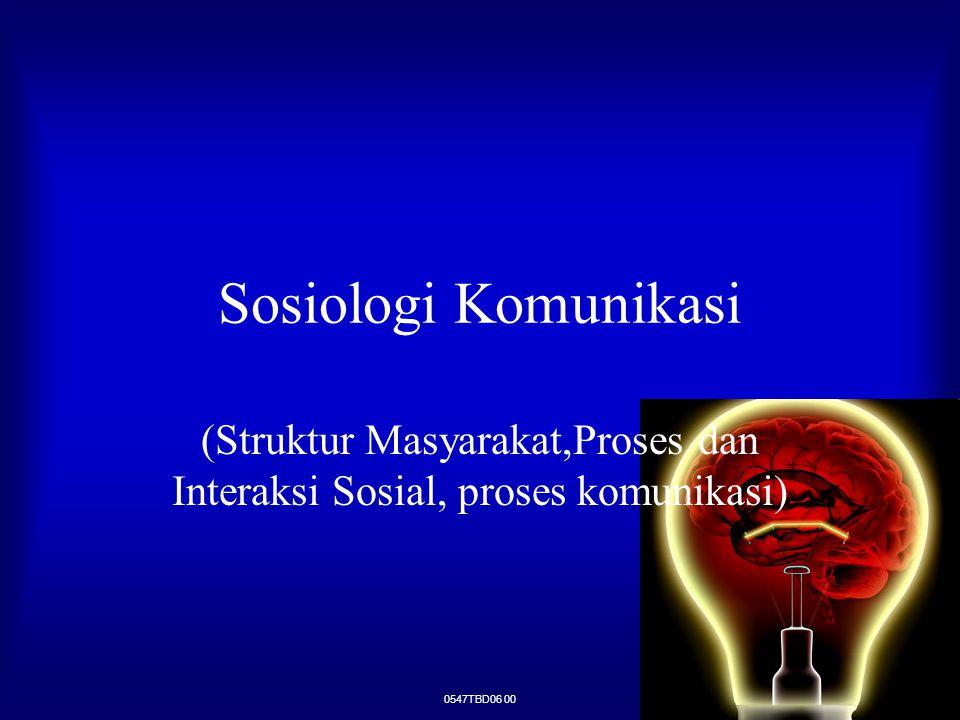 (Struktur Masyarakat,Proses dan Interaksi Sosial, proses komunikasi)