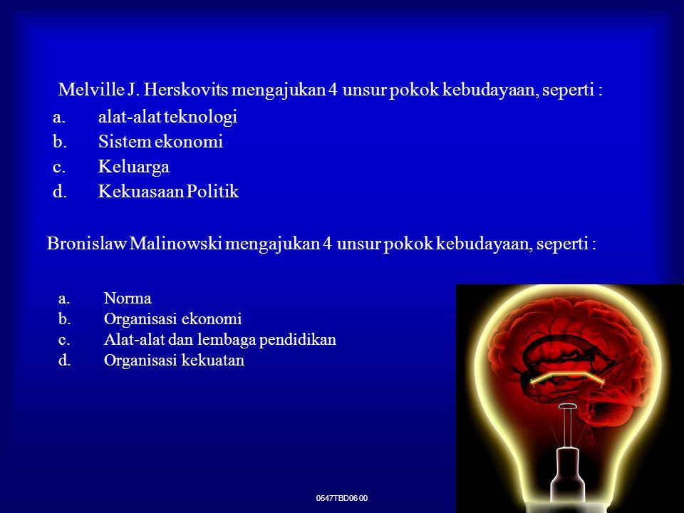 Melville J. Herskovits mengajukan 4 unsur pokok kebudayaan, seperti :
