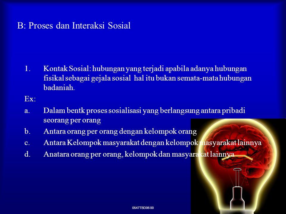 B: Proses dan Interaksi Sosial