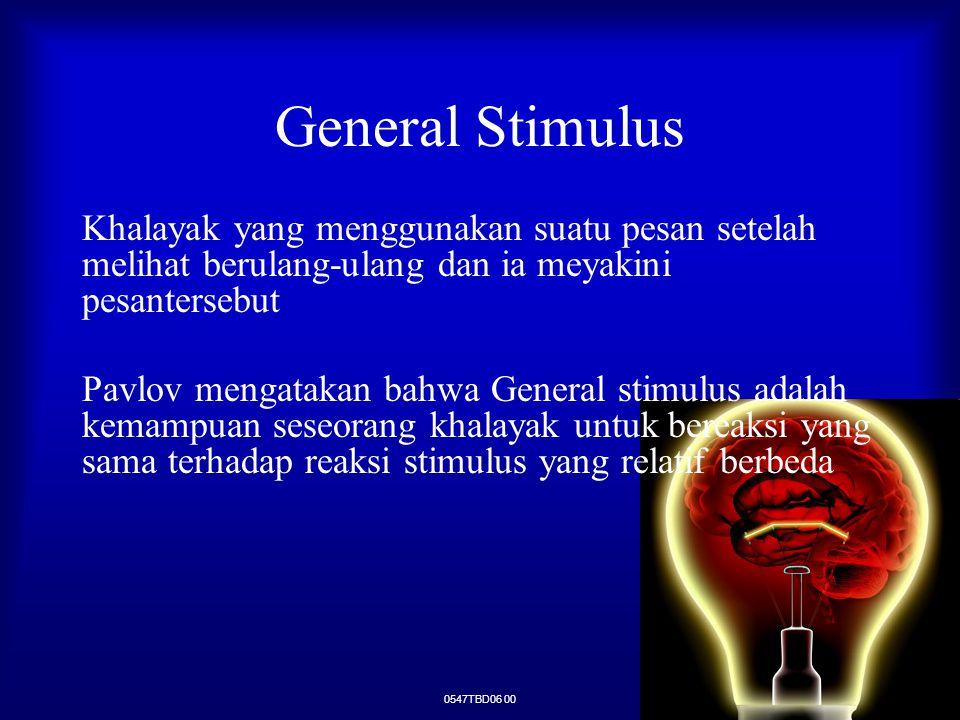 General Stimulus Khalayak yang menggunakan suatu pesan setelah melihat berulang-ulang dan ia meyakini pesantersebut.