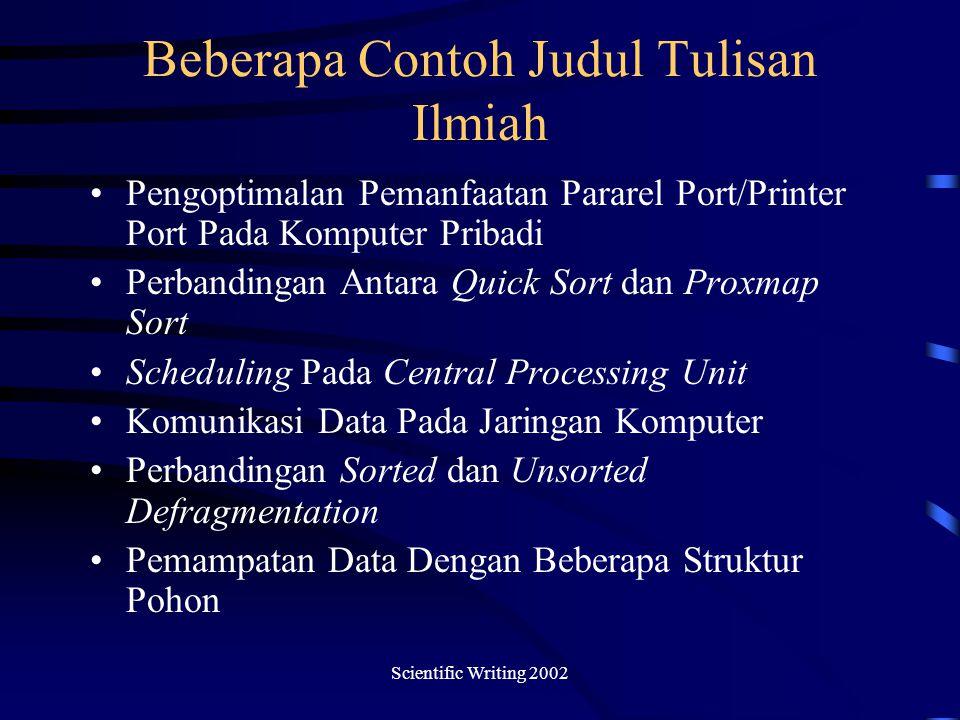 Beberapa Contoh Judul Tulisan Ilmiah
