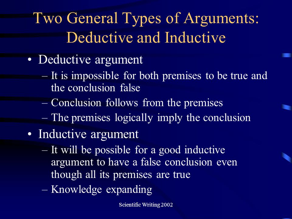 Two General Types of Arguments: Deductive and Inductive