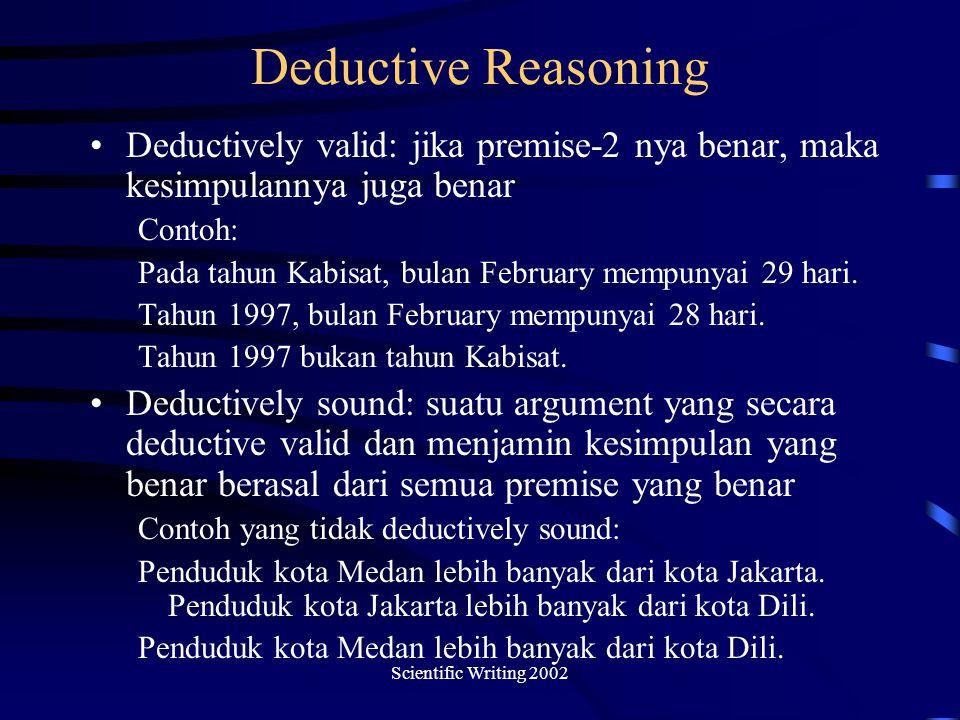 Deductive Reasoning Deductively valid: jika premise-2 nya benar, maka kesimpulannya juga benar. Contoh: