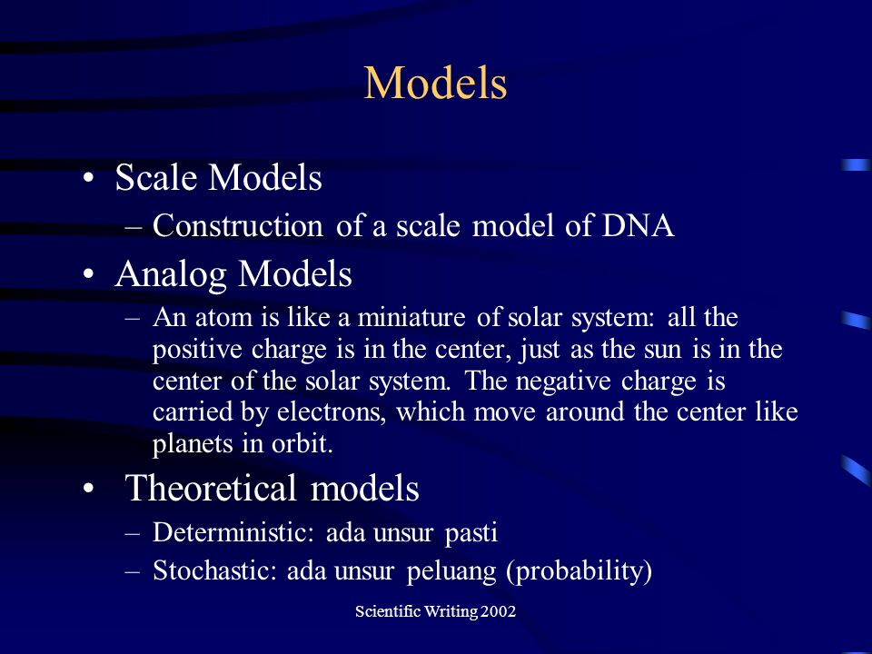 Models Scale Models Analog Models Theoretical models