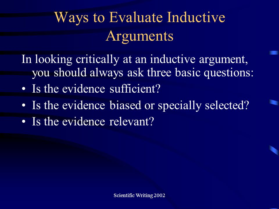 Ways to Evaluate Inductive Arguments