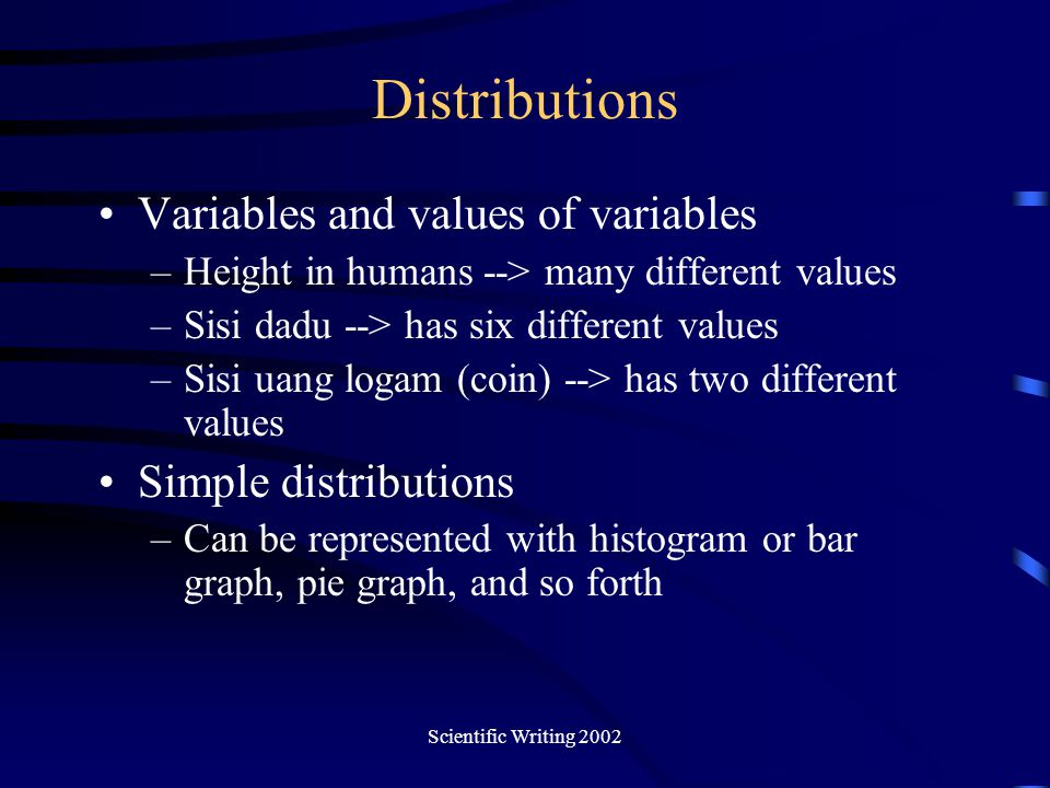 Distributions Variables and values of variables Simple distributions