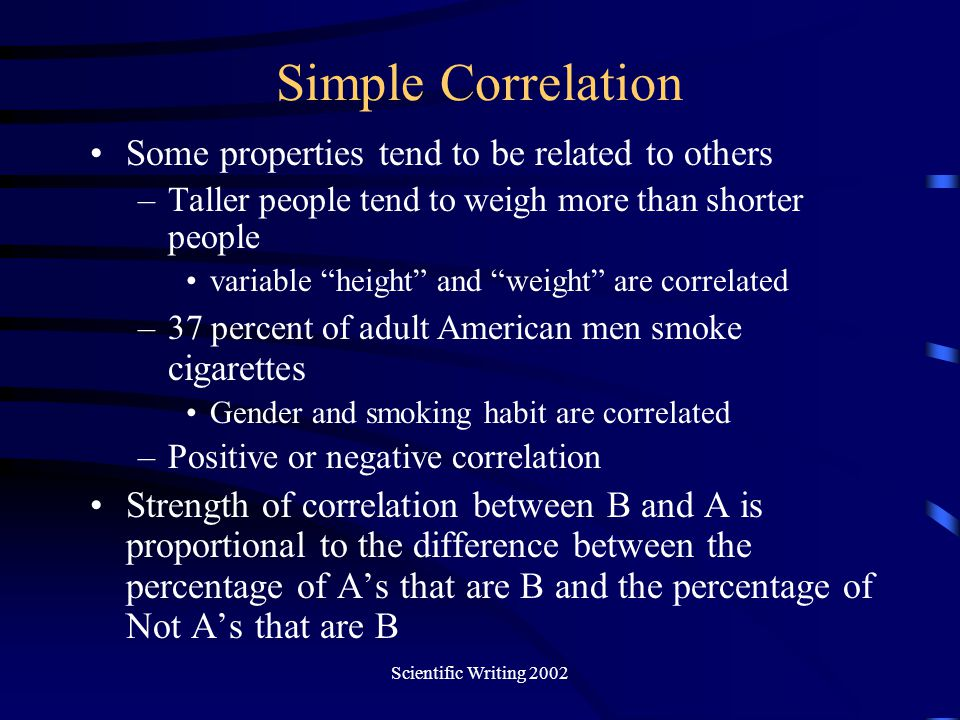 Simple Correlation Some properties tend to be related to others