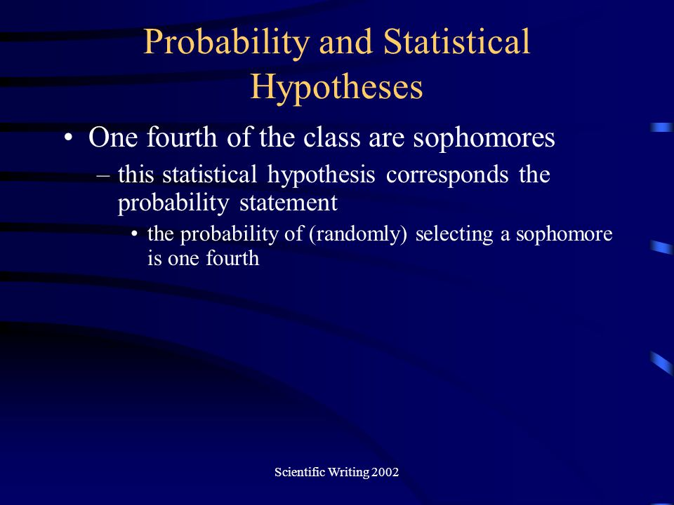 Probability and Statistical Hypotheses