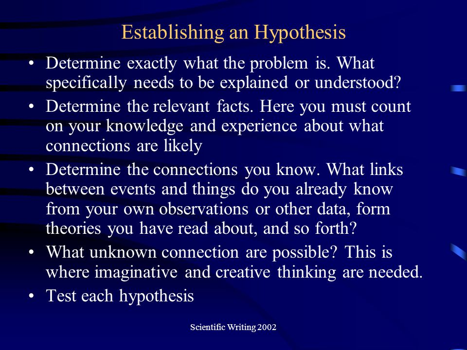 Establishing an Hypothesis