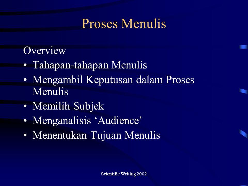 Proses Menulis Overview Tahapan-tahapan Menulis