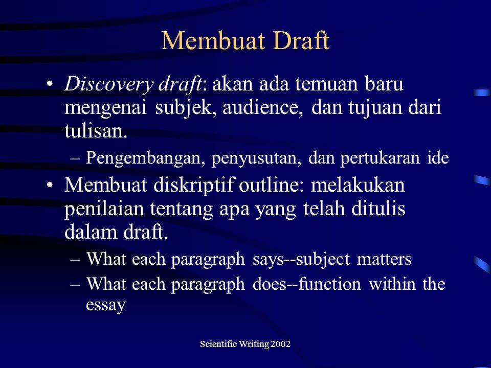 Membuat Draft Discovery draft: akan ada temuan baru mengenai subjek, audience, dan tujuan dari tulisan.