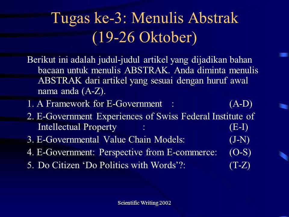 Tugas ke-3: Menulis Abstrak (19-26 Oktober)