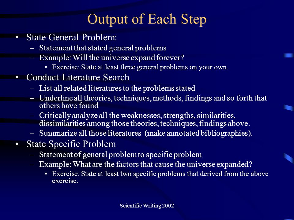 Output of Each Step State General Problem: Conduct Literature Search