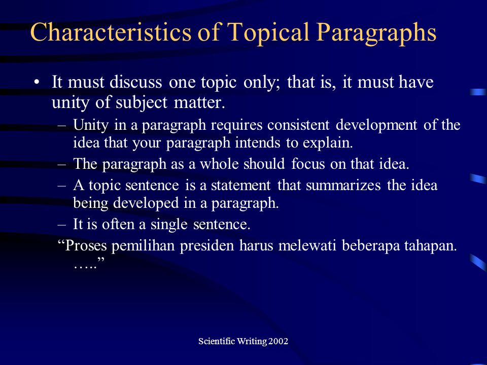 Characteristics of Topical Paragraphs