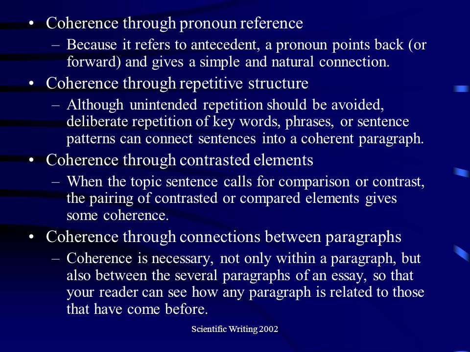 Coherence through pronoun reference