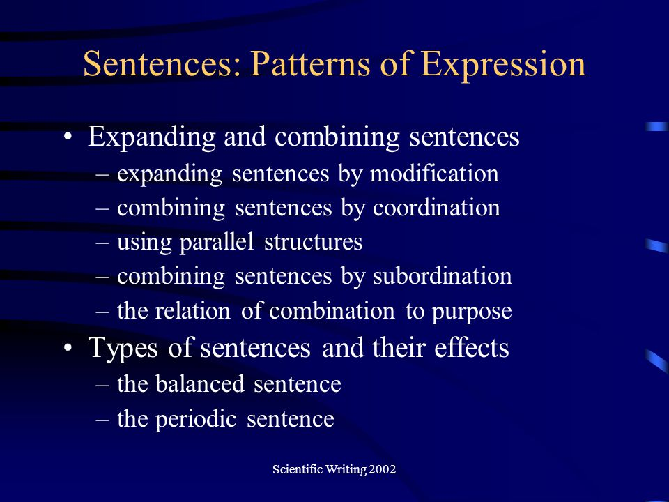 Sentences: Patterns of Expression