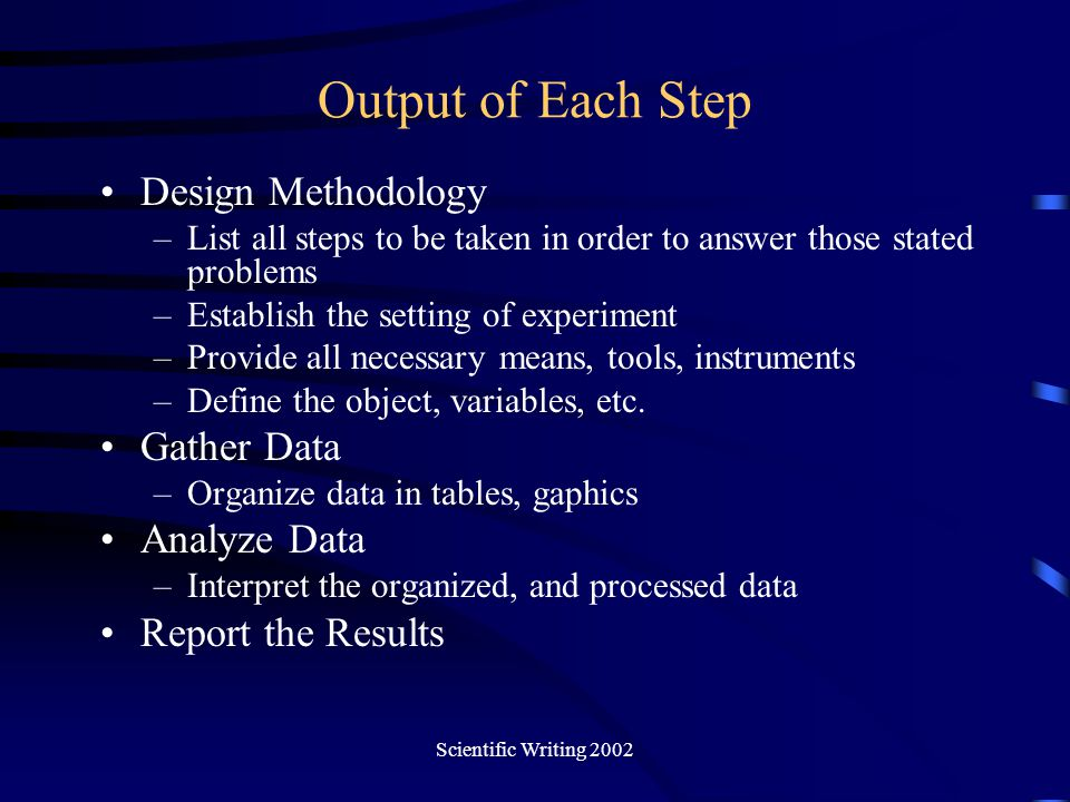Output of Each Step Design Methodology Gather Data Analyze Data
