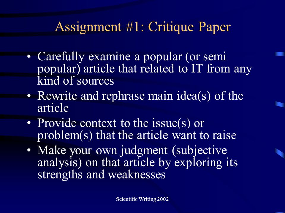 Assignment #1: Critique Paper
