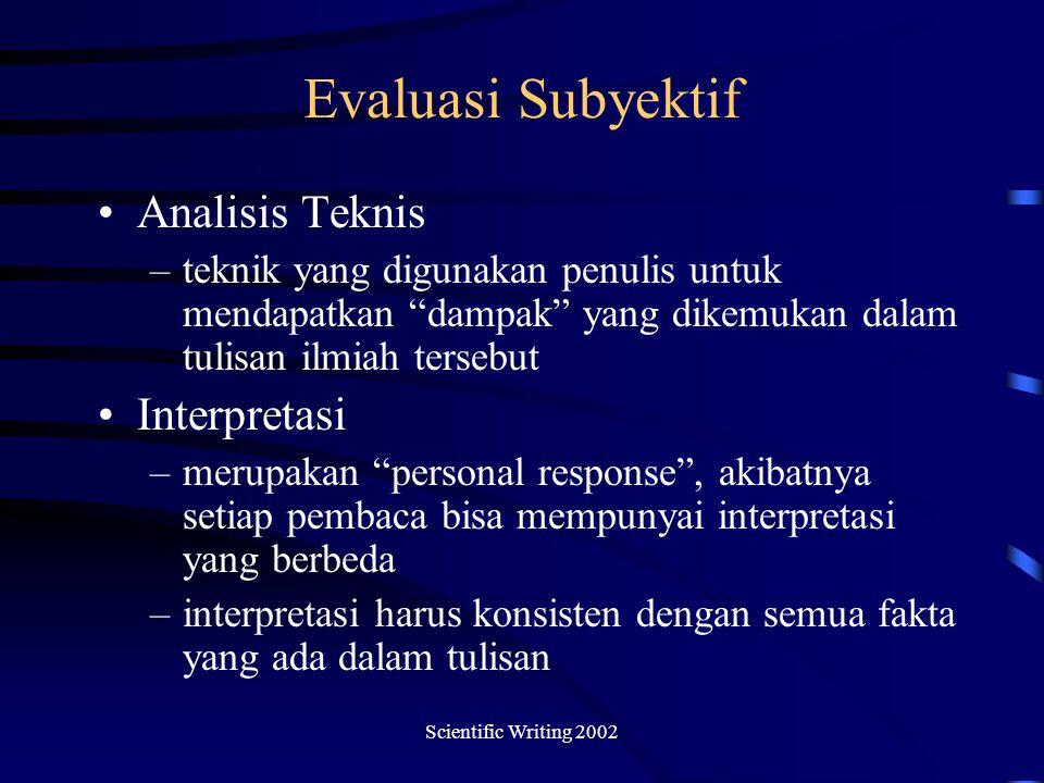 Evaluasi Subyektif Analisis Teknis Interpretasi