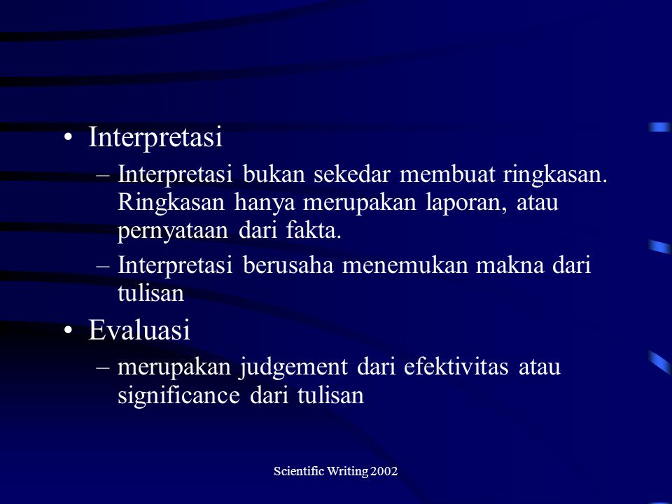 Interpretasi Evaluasi